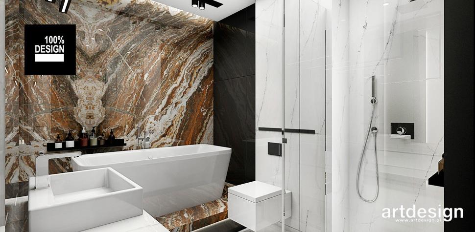 łazienka biało brązowa