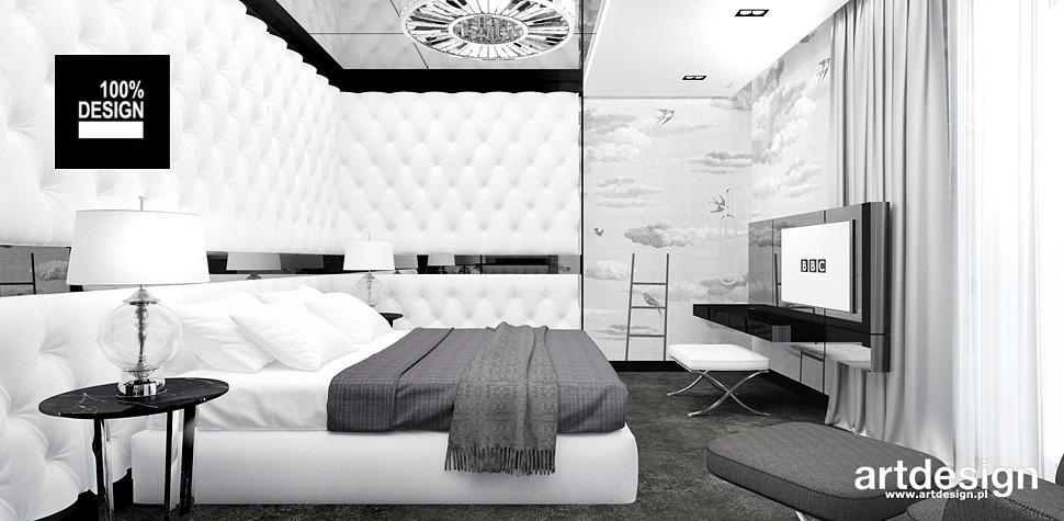 sypialnia białe szare wnetrza