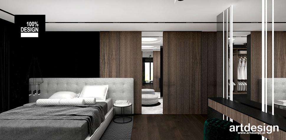 aranzacja sypialni czern drewno