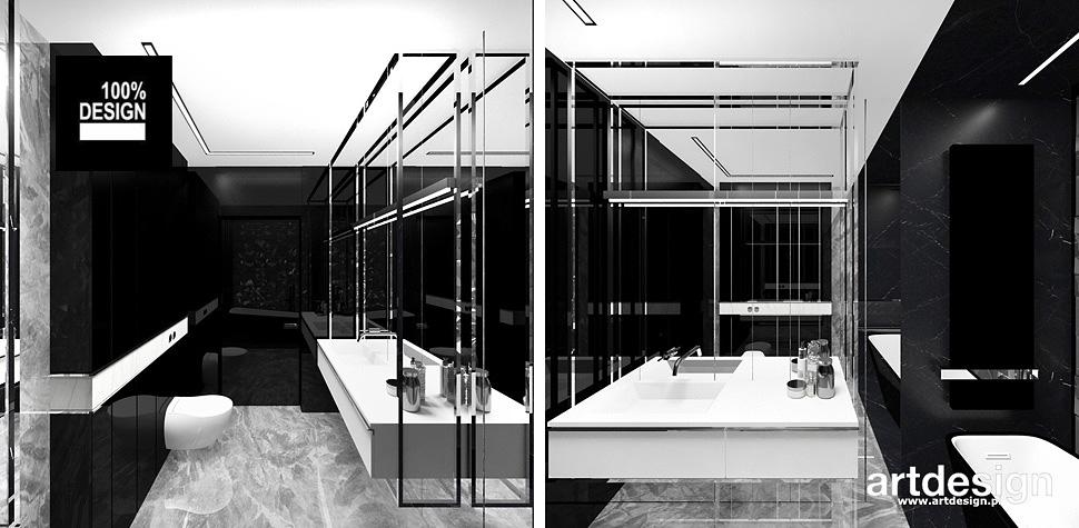 biało czarna aranżacja łazienki