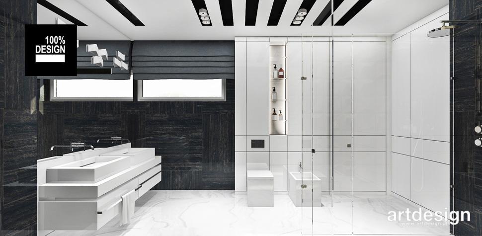 biało-czarna aranżacja łazienki