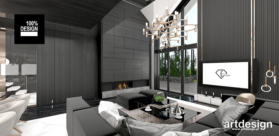 nowoczesny salon z kominkiem