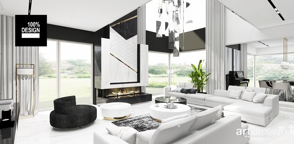 luksusowy projekt salonu biel