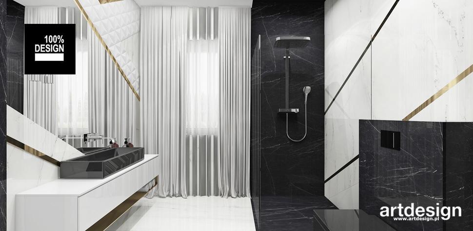 biało-czarna przestronna łazienka