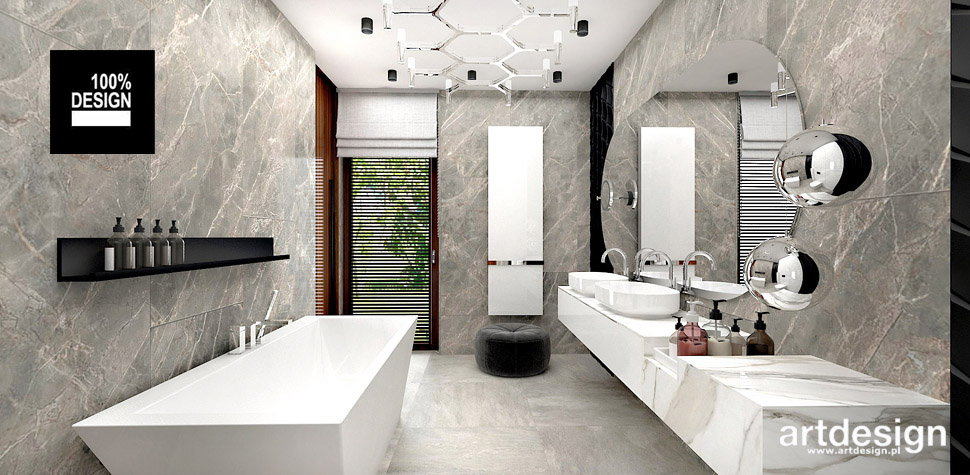 szara łazienka wnętrza projekty