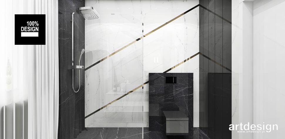 projekty łazienki czerń biel