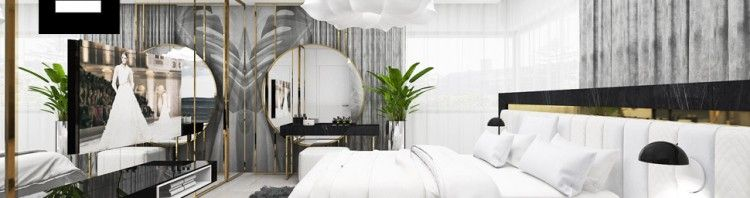 piękna elegancka sypialnia