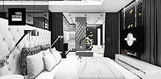 bialo czarna sypialnia