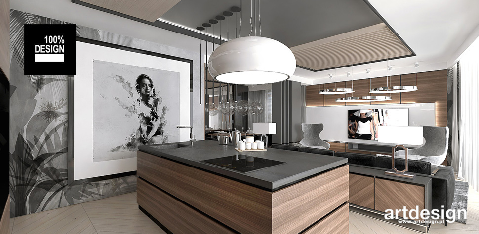 otwarta kuchnia w apartamencie