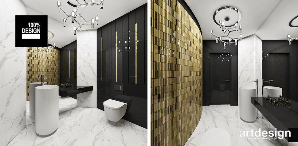 biało złota łazienka wnetrza projekty