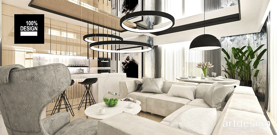 projekt salonu z kuchnią artdesign