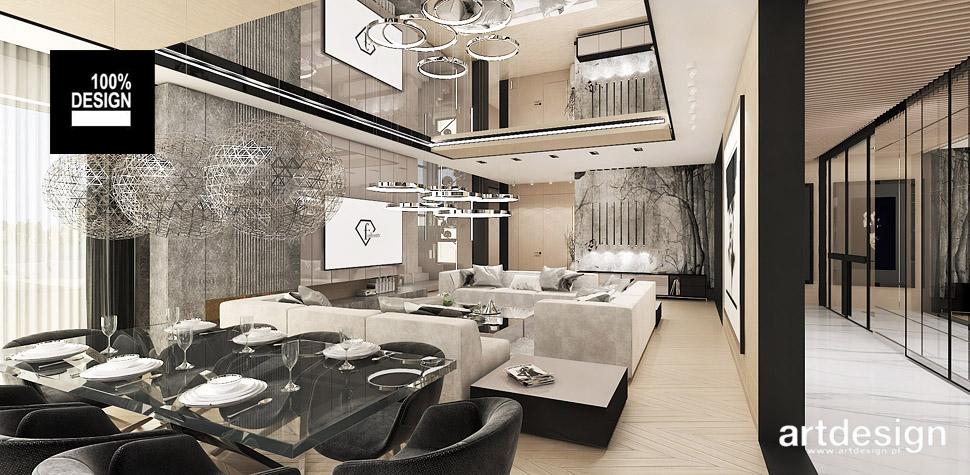 nowoczesna aranżacja salonu z jadalnia