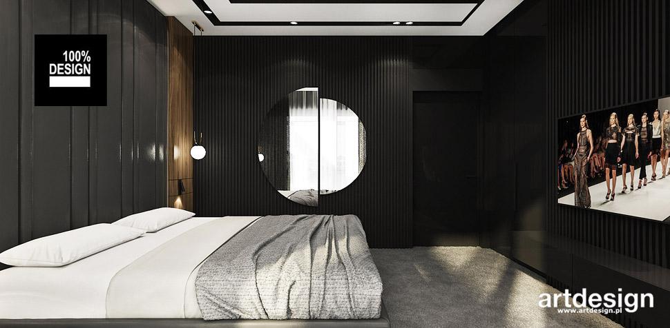 sypialnia czarne wnętrze projekt