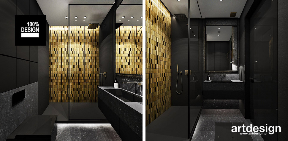 łazienka czarna złota wnetrza projekty