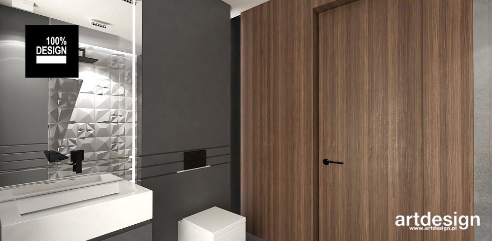 projekt łazienki drewno szarość