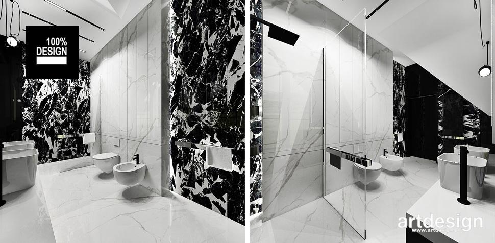 czarno-biała łazienka aranżacja