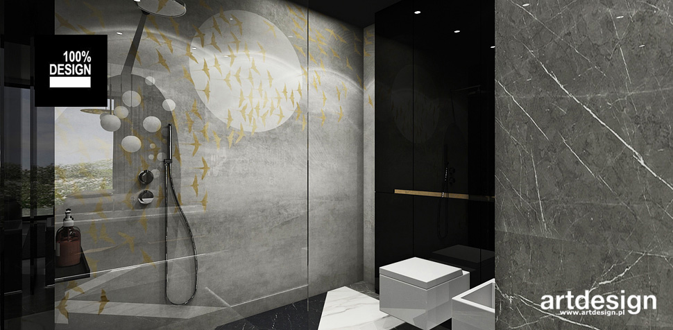 szare łazienki wnętrza projektowanie