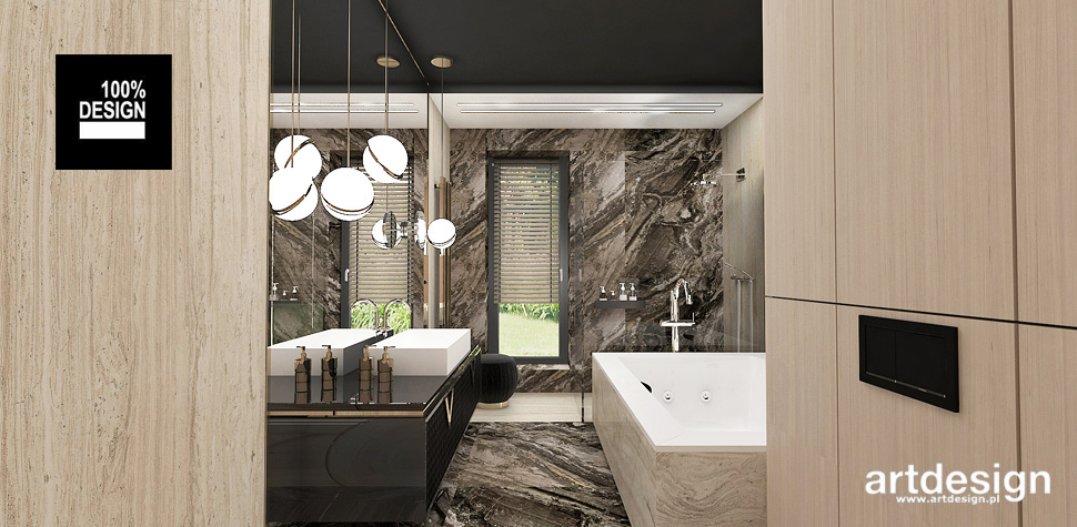 designerska łazienka drewno kamień