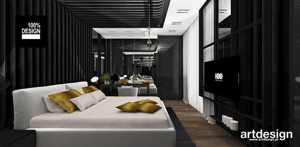 czarna sypialnia projekt