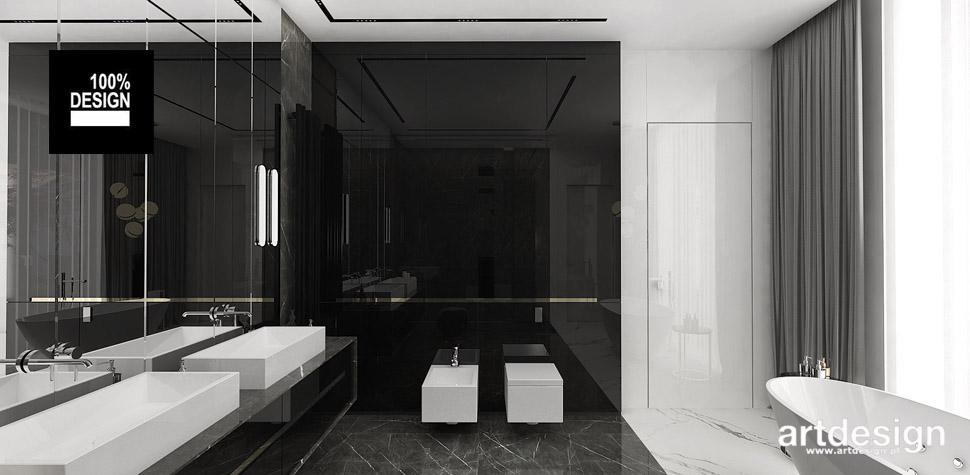 biała czarna łazienka wnętrze