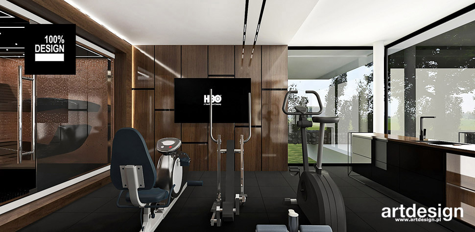 projekty dom siłownia wnętrza