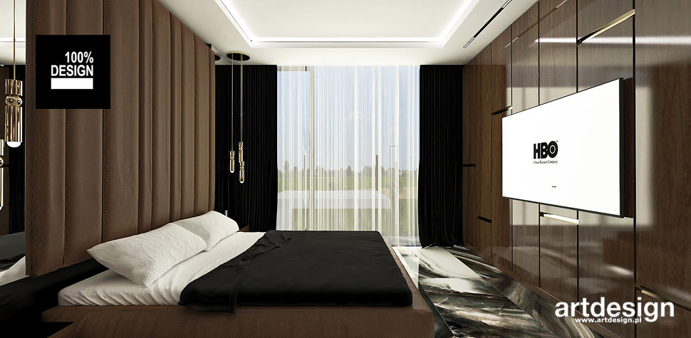 projekty sypialnia brązowa wnętrza