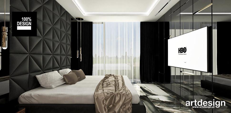 czarna sypialnia projekt wnętrza