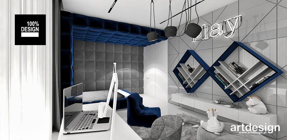 aranżacje szary niebieski pokój