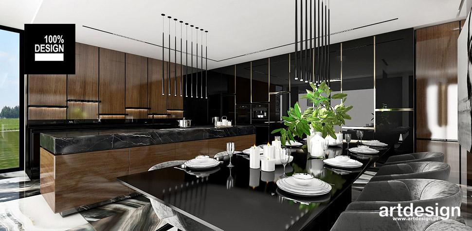 kuchnia czarna drewno wnętrza