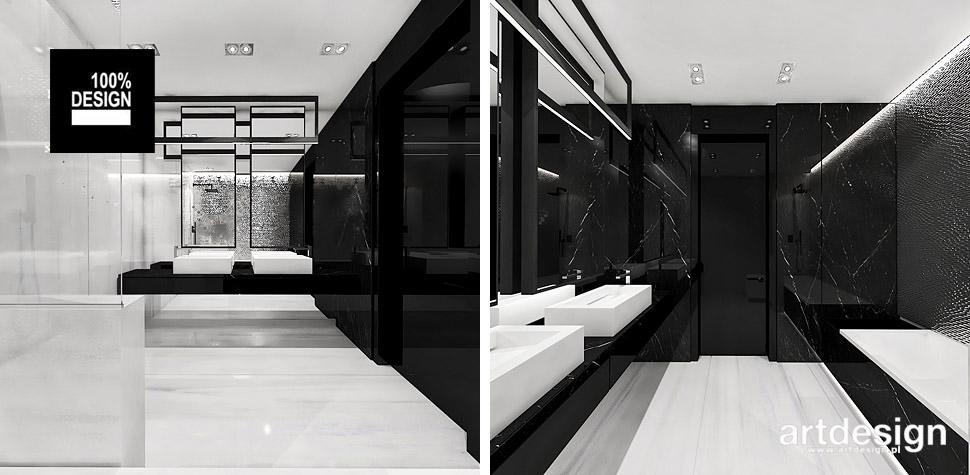 łazienka czarno-biała wnętrze